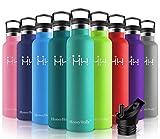 HoneyHolly Vakuum Isolierte Edelstahl Trinkflasche 1000ml,BPA Frei Wasserflasche Auslaufsicher Thermosflasche,Thermoskanne kohlensäure geeignet für Kinder,Kleiner,Schule,Sport,Fahrrad