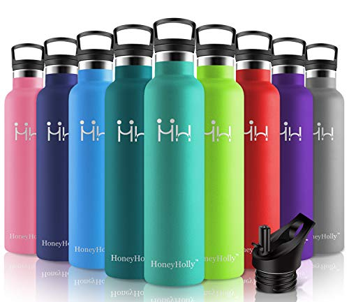 HoneyHolly Botella de agua aislada al vacío de acero inoxidable, diseño de pared doble,...