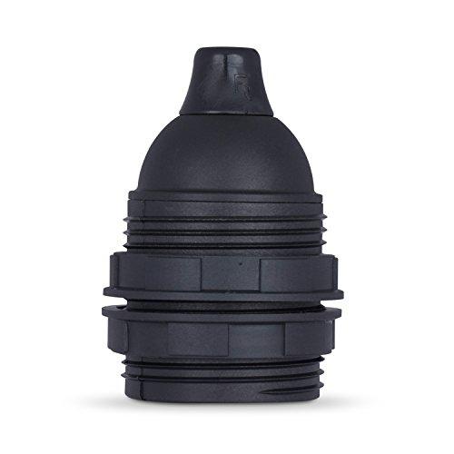 Gewindemantel Lampenfassung E27 aus Thermoplast, schwarz mit Zugentlastung - 1x Stück