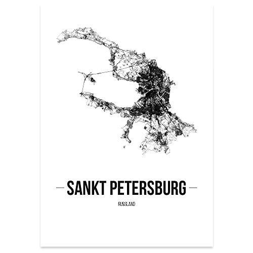JUNIWORDS Stadtposter - Wähle Deine Stadt - Sankt Petersburg - 40 x 60 cm Poster - Schrift B - Weiß