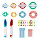 Kit para hacer pompones, 8 tamaños para hacer pompones, para hacer bolas, tejedores, manualidades, lana y tejer, juego de herramientas de decoración con 2 tijeras cortadoras de hilo