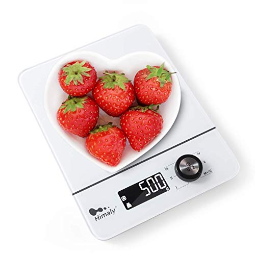Kranich 8kg/1g Balance Cuisine,Balance de Précision,avec Interrupteur Rotatif,Multifonction,Fonction Tare,4 Unités de Pesée,Conversion Liquide,Écran LCD Rétroéclairé Auto-arrêt Blanc
