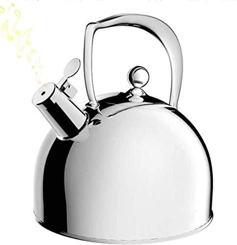 Whistle Hervidor de agua para estufa con silbato seguro por inducción, tetera quirúrgica de acero inoxidable con mango ergonómico, 3 litros