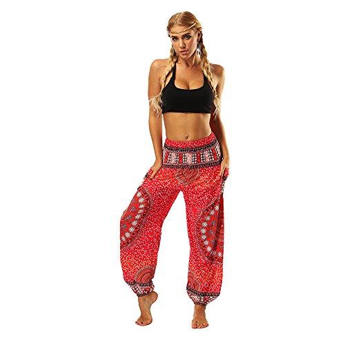 OYABEAUTYE Mujer Harem Hippy Pantaloni Cintura Elástica bonzaai Pantalones (Rojo, One Size)