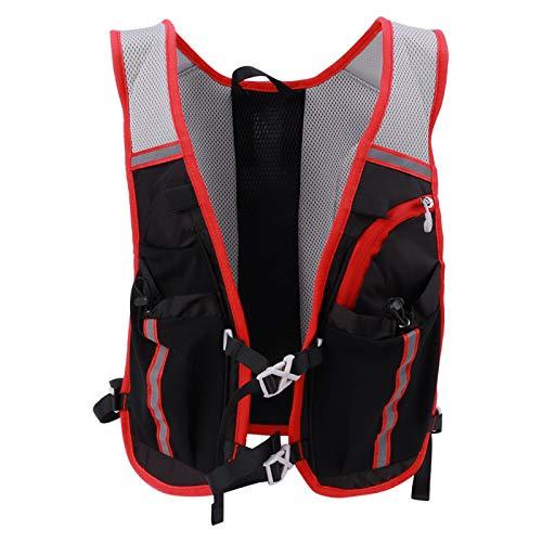 DAUERHAFT Bolsa de Bicicleta con vejiga de hidratación Mochila de Agua Duradera con Sistema de hidratación, Escalada, Senderismo(Black Red)