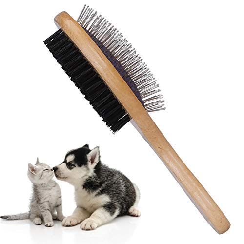 Nobleza Bambus Hundebürste Katzenbürste, 2-in-1 Hundebürste und Borsten, Professionelle Doppelseitige Tierhaarbürste - Entfernt Loses Fell und Schmutz Ideal für lang- und kurzhaarige Haustiere