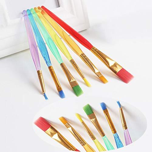 Yceot 6-delige set kleurrijke haarkleur schilderpenselen set kunstenaars aquarel olieborstel voor kinderen studenten stationair schildertoebehoren