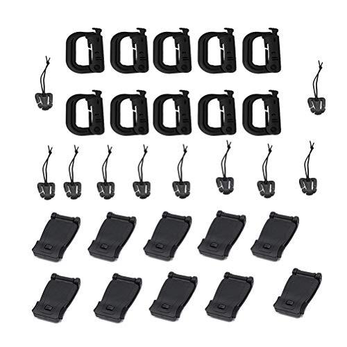 NUOBESTY 30 stücke Molle Attachments Gear Clip Strap Web Dominators für Molle Rucksack Gurtband Anhänge D Ring Haken Weste Gürtel Camping Werkzeug