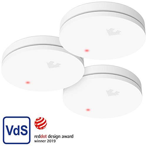 VisorTech Rauch-Alarm-Melder: 3er-Set fotoelektrische Slim-Rauchwarnmelder, 10-Jahres-Batterie, VDs (Rauchbrandmelder)