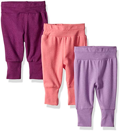 Hanes Ultimate Baby Flexy 3 Pack Adjustable Fit Knit Jogger Pants, Purple/Pink, 6-12 Months