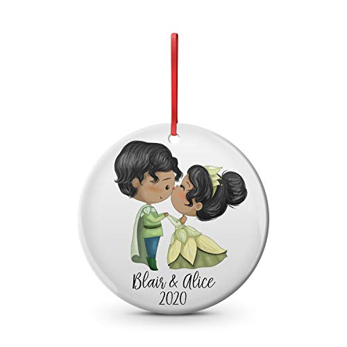 Princess Tiana couple ceramic Christmas ornament, 2.75 inch custom name and date, Princess and the frog