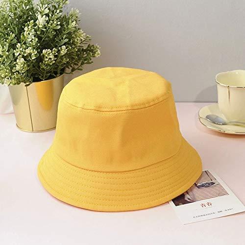 Sombrero de Cubo Plegable de Verano Unisex para Mujer, Protector Solar al Aire Libre, Gorra de Pesca de algodón, Gorra de Caza para Hombres, Sombreros para prevenir el Sol-Yellow-1-Adult