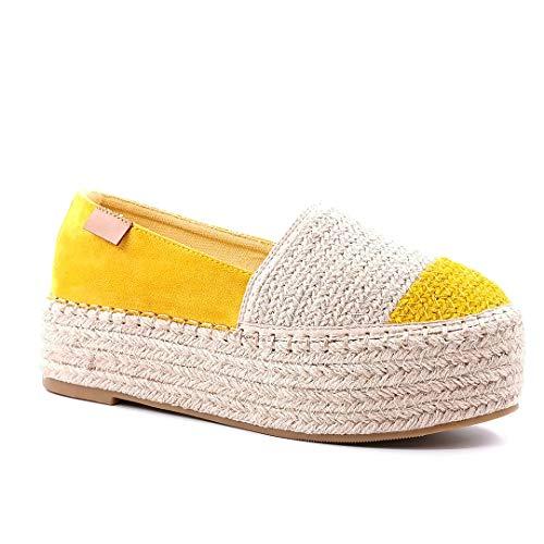 Angkorly - Damen Schuhe Espadrille - Plateauschuhe - Böhmen - Strand - Seil - mit Stroh - Schnürung Keilabsatz 4,5 cm - Gelb 7 BL288 T 36