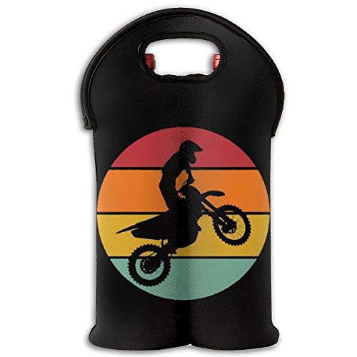 Iop 90p Retro Motocross Silhouette 2-Flaschen-Thermowein-Flaschen-Taschen-Taschen-Reise-Halter