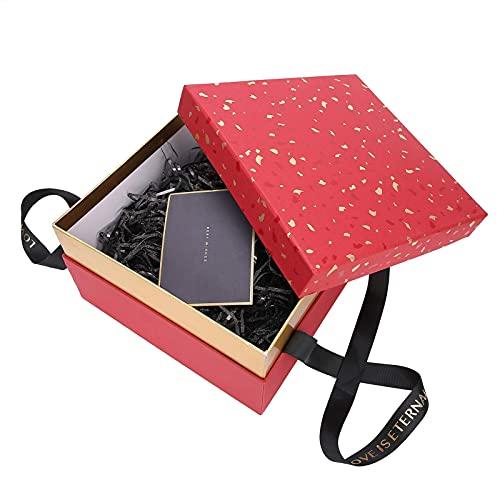 Geschenkboxen Set für Schmuck Bonbons, Geschenkbox mit elektrischer Lichterkette Quadratischer Lippenstift Kosmetik Aromatherapie Aufbewahrungskoffer Geburtstag Valentinstag Weihnachten(rot)