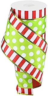 Polka Dots with Stripes Wired Edge Ribbon - 10 Yards (Red, Green, White, 4 Inches)