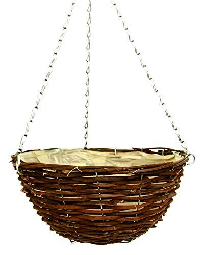 Plants By Post 2 x 12in (30cm) Dark Rattan Wicker Hanging Basket