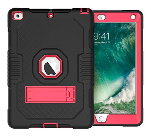 Protective Tablet PC Cover Case Rugged Anti-Drop Three-Layer Protective Shell Suitable for New iPad 9.7 2017/2018 Protective Cover Rubber High-Strength Protective Shell with Built-in Shock Mount