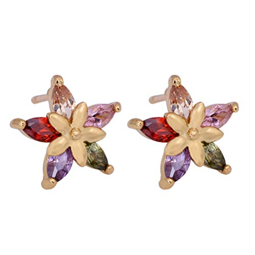 TENDYCOCO Orecchino di Goccia di Cristallo zircone di Forma di Fiore Grazioso Ear Stud per Regalo Donna (colorato)