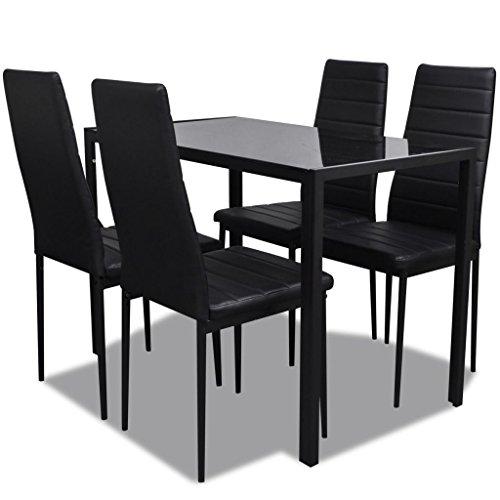 vidaXL Conjunto de Salón Comedor 5 Piezas Negro Juego de Mesa y Sillas Muebles ✅