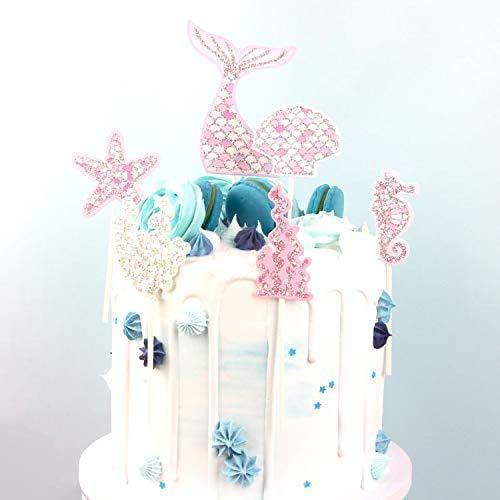 Regendeko 12 Stück Glitzer Meerjungfrau Ocean Theme Kuchendekoration Cupcake Cake Toppers Geburtstagskuchen Deko Mermaid Party Themed Decoration