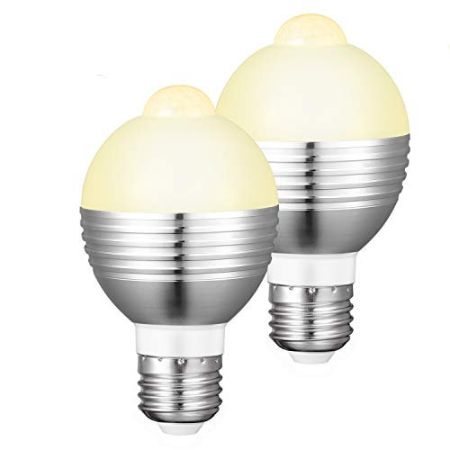 LED電球 人感センサー E26口金 センサーライト センサー電球 高輝度 自動点灯 自動消灯 7W 50W形相当 口金 消し忘れ防止 省エネ 玄関、廊下、階段、洗面所、クローゼットに最適 (電球色)Merisny (2個暖光)