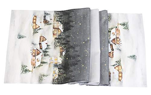 khevga Camino de mesa navideño, color blanco, dorado y marrón, 140 x 40 cm (blanco y gris)