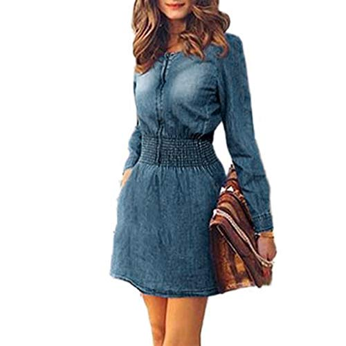 SANNYSIS Jeanskleider Herbst Winter Damen Denim Langarm Schlank Kleid Elegante Jeanskleid Hemdblusenkleid Longshirt Tunika Minikleid Cocktailkleid Partykleid (M, Blau)