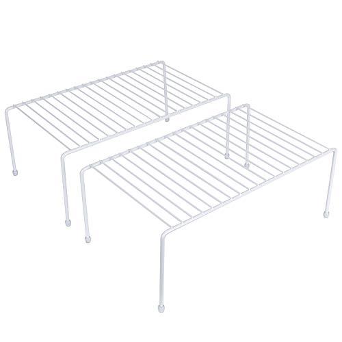 yaenoei Kitchen Storage Shelf Rack wPlastic Feet - Medium - Steel Metal - Rust Resistant Finish - Cups Dishes Cabinet Pantry Organization - Kitchen White 2 Pack