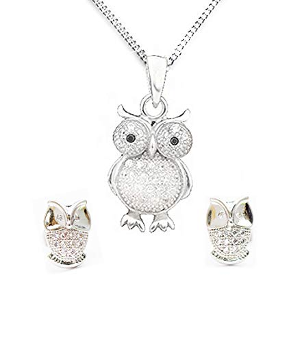 MixiuEuro Women Owl Necklace Earrings Sets, 925 Sterling Silver Cubic Zirconia Owl Necklace Set Jewellery Gift For Girls Women