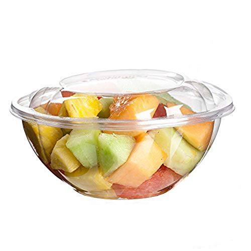 [50 Pack] 24 oz BPA Free Clear Plastic Bowl With Dome Lids Combo for Salads Fruits Parfaits, Disposable, Small Size