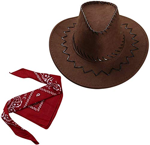 Carnavalife Sombrero Cowboy de Vaquero con Pañuelo Bandanas Paisley de Algodón Toy Story Western Disfraz para Adulto y Niños (Marrón, Adulto/58cm)