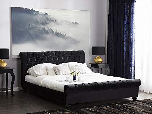 Beliani Klassisches Bett Polsterbezug Samtstoff Chesterfield Style schwarz 140x200 Avallon