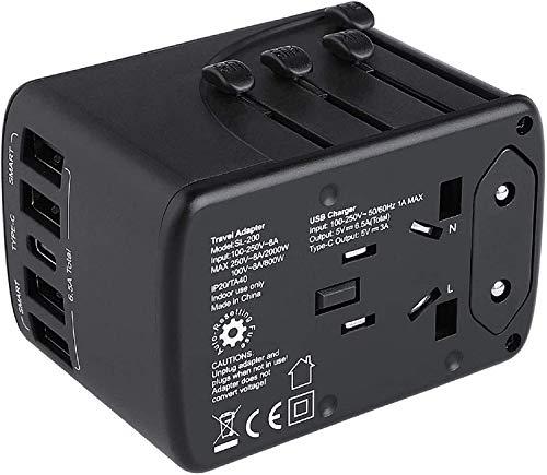 MVPower Multinationaler Reiseadapter Reisestecker, AC Steckdosenadapter, 6,5 A für 4 USB Anschlüsse und Typ C für 150 Länder mit US/EU/UK/AUS Steckern, Schnellladung