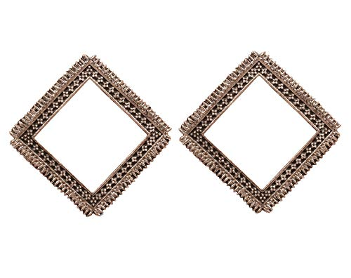 NEW! Touchstone'Indian Oxidized Jewelry' Ethnic Handcrafted Filigree Tribal Gypsy Designer Jewelry Square Shape Earrings In Oxidized Finish For Women.