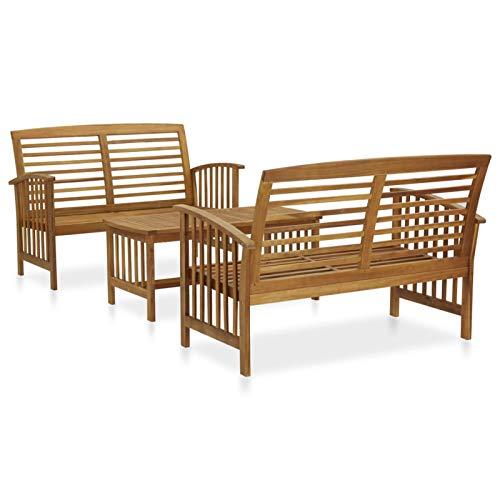 Festnight Jardin Muebles de Patio al Aire Libre,Juego de Muebles de jardín 3 Piezas Madera de Acacia Maciza