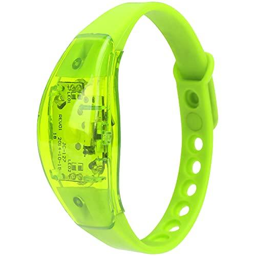Eosnow Pulsera Que Destella, Seguridad Ajustable de la Noche de la Pulsera del silicón LED para el Funcionamiento Nocturno(Green)