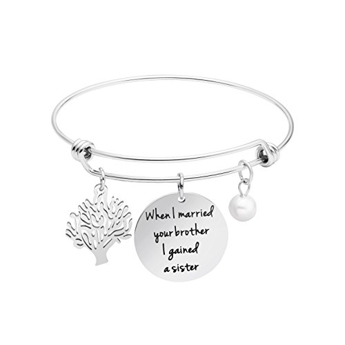 Awegift Sister in Law Gifts Wedding Jewelry Expandable Bracelet When I Married Your Brother I Gained A Sister