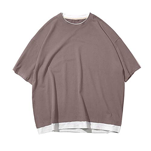 Yowablo T-Shirt Männer Fitness Kurzarm Sport Quick Dry Stretch Training Fake zwei Kleider ( S,Kaffee )