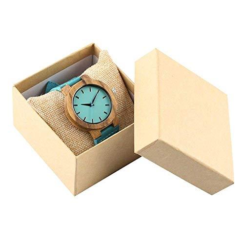 Reloj de madera Reloj Azul Personalizado Reloj de madera Relojes de madera regalo para la cubierta trasera del hijo Talla de madera Reloj de pulsera Reloj de cuarzo ,vapor ( Color : Watch With Box )