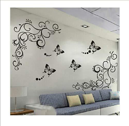 Zwyluck Klassieke bloemen, zwart leven, vlinders, muurstickers voor keuken, koelkast, woonkamer, slaapkamer, decoratieve muurstickers 50 x 70 cm
