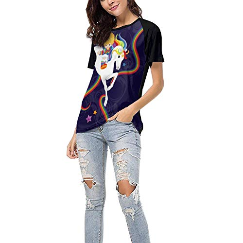 Women's Summer Short Sleeve - Rainbow Brite and Starlite Memories Casual Raglan Tee Baseball Tshirts Tops Blouse XXL
