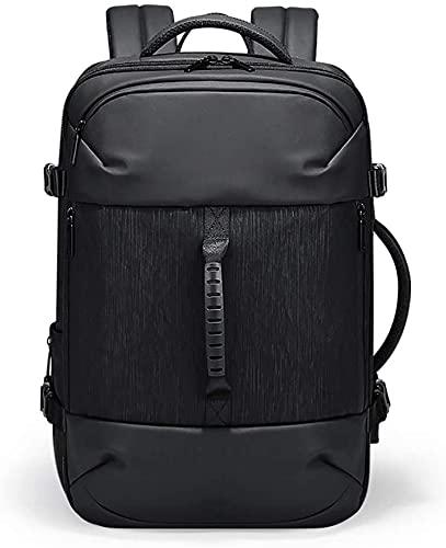 WXFCAS Mochila antirrobo portátil con USB Puerto de Carga, Mochila de Negocios Impermeable y Ampliable Adecuado para Viajes de Viajes de Negocios para Hombres (Color: Negro, Tamaño: 31 * 30 * 43cm)