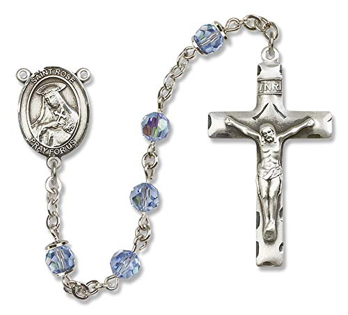 All Sterling Silver Rosary with Light Sapphire, 6mm Swarovski, Austrian Tin Cut Aurora Borealis Beads. St. Rose of Lima Center. St. Rose of Lima is the Patron Saint of Vanity/South America.