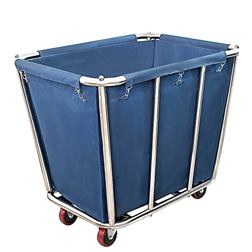 Graywlof Commercial Laundry Cart,10 Bushel (350L) Large Industrial Rolling Laundry Cart Hamper with 4 Inch Wheels,Heavy Duty Laundry Baskets with Stainless Steel Frame, 260 LBS Weight Capacity