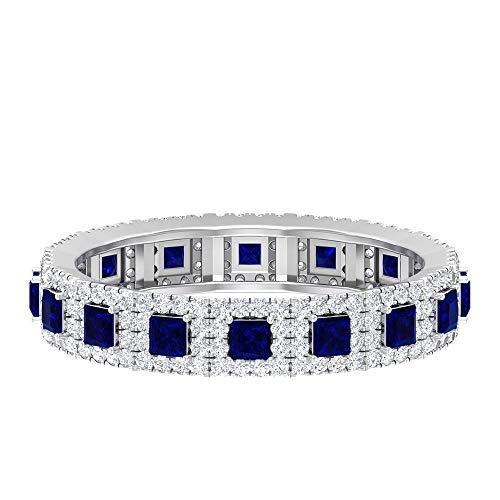 Anillo de zafiro azul creado en laboratorio, 2,00 mm, corte princesa, anillo de halo de diamante HI-SI, anillo de eternidad completa, anillo de boda de oro (calidad AAAA), 14K Oro blanco, Size:EU 50
