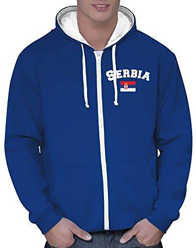 Coole-Fun-T-Shirts Serbien Sweatshirtjacke Varsity Jacke blau, Gr.M