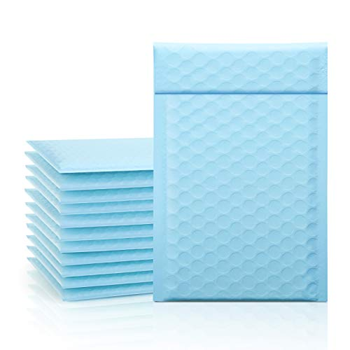 """Fuxury/Fu Global 4x8"""" 25Pcs Poly Mailers Bubble Padded Set #000 for Lip Glosses, Colored Shipping Bubble Wrap Mailers Envelopes Bulk, Poly Mailer Bags for Shipping/Packaging- Light Bule"""
