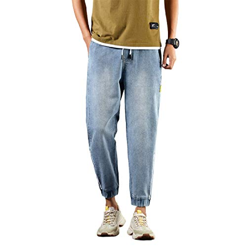 Male Harlan Jeans Spring and Autumn Straight Loose Korean Style Trend All-Match Cropped Pants, with Drawstring 29 Light Blue