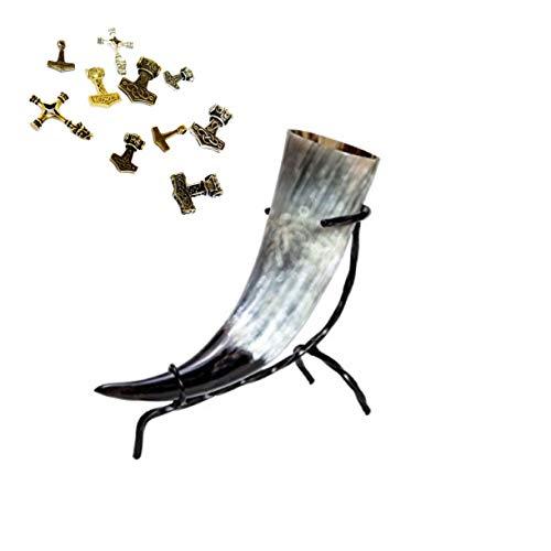 Juego de cuerno de beber – Metrónomo en tamaños versch incluye soporte de mesa Plus colgante – para Met – vikingo – Edad Media – LARP – de cuerno de vacuno decoración regalo, ca.100 - 190 ml